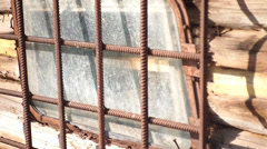 Old window with bars Stock Footage