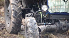 old wheel tractor - stock footage