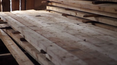 Neatly folded new boards Stock Footage
