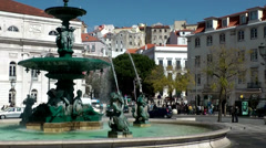 Europe Portugal Lisbon city and river 011 fountain on a large place Stock Footage