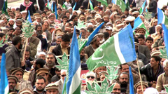 Crowds Demonstrate at an Islamists Rally on Kashmir Day Stock Footage