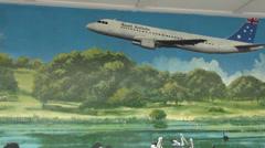Muralart Artist John R Brook restored by Annette Barlow Stock Footage
