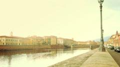 Girl Walking Along Arno River Stock Footage