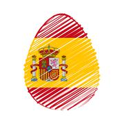 spanish flag in easter egg - stock illustration