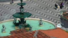 Europe Portugal Lisbon city and river 029 fountain and patterned cobbles - stock footage