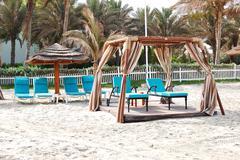 hut on the beach of luxury hotel, ajman, uae - stock photo