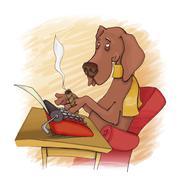 Koira kirjailija Piirros