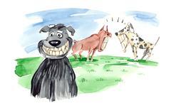 dogs bare teeth - stock illustration