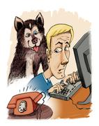 husky dog his owner and phone calling - stock illustration