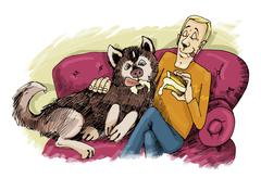 Husky dog and his owner on sofa Stock Illustration