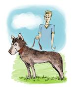 Stock Illustration of husky dog on exhibition