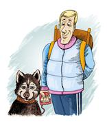 Husky dog and his owner Stock Illustration