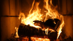 Fire in the fireplace, stove Stock Footage