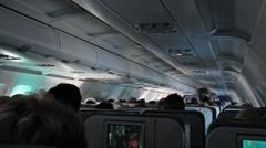 Passenger cabin airlines oversea flight HD 1926 Stock Footage
