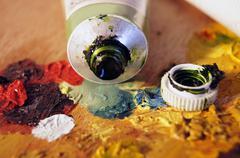 Oil paint on palette - stock photo