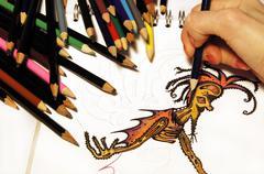 Artistic Activity - Drawing Stock Photos