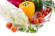 Cabbage with cherry tomatoes, lettuce and pepper Stock Photos