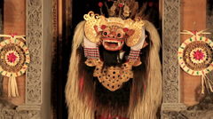 Balinese performers on stage in the Barong dance performance Stock Footage