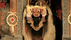 Mythiclal barong creature on stage in Balinese dance performance Stock Footage