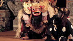 Hanoman monkey and Barong in Balinese dance performance Stock Footage