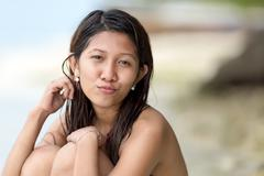 beautiful charismatic young filipina woman - stock photo
