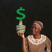 south african zulu woman basket sales woman blackboard money tree - stock photo