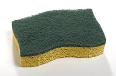 sponge with green abrasive - stock photo