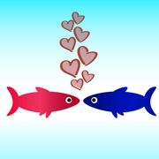 Fish icon love wallpaper Stock Illustration