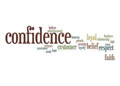 confidence word cloud - stock illustration