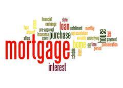 mortgage word cloud - stock illustration