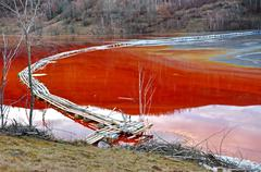 Pollution of a lake with contaminated water Stock Photos