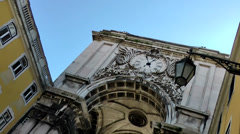 Europe Portugal Lisbon city and river 039 historic city gate from below Stock Footage