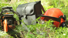 Woodcutter's Equipment in the Forest - stock footage