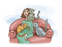 Stock Illustration of Woman with cats