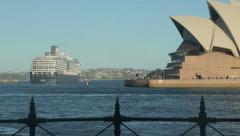 Cruise ship passes sydney opera house, australia Stock Footage