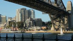 Sydney harbour bridge and Milsons Point, australia Stock Footage