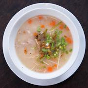 traditional thai porridge rice gruel in bowl, con gee - stock photo