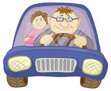 Car, driver and passenger Stock Illustration