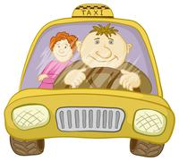Car taxi with driver and passenger - stock illustration