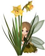 Cute Toon Daffodil Fairy, Hiding Stock Illustration