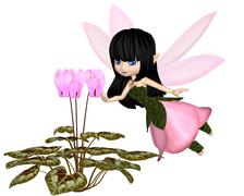Cute Toon Pink Cyclamen Fairy, Flying Stock Illustration