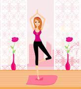 Nainen perinteisen jooga aiheuttaa vektori kuva Piirros