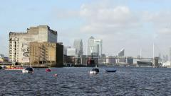 Canary wharf london in the distance Stock Footage