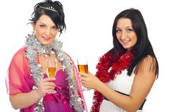 Women at Christmas party - stock photo