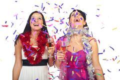 Women celebrate new year party - stock photo