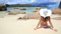 Sunbathing on the beautiful beach Stock Footage
