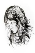 American indian woman head, sketch of tattoo Stock Illustration