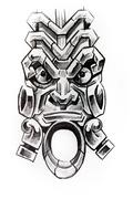 american indian totem, sketch of tattoo - stock illustration