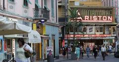 UltraHD 4K Ariston Theatre Sanremo San Remo Building People Walking Sidewalk Day Stock Footage