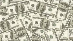 Hundred dollar bills as background. Money pile, financial theme. Stock Footage